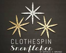 metallic clothespin snowflake ornaments happiness is