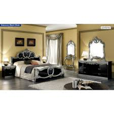 Bed Sets Black Barocco Traditional Bedroom Set In Black Silver Bed 2