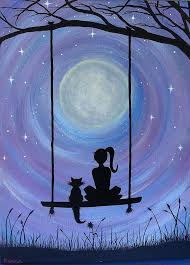 a and cat sitting on a swing the moon print