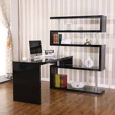 aosom homcom rotating home office corner desk and shelf combo black