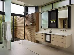 bathroom modern doorless shower idea flat panel cabinets