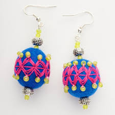 felt earrings felt beaded earrings lovingafrica