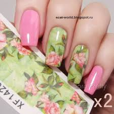 0 99 2 sheets water decal green pink lotus pattern manicure nail
