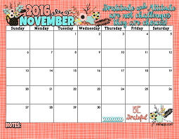 Printable Halloween Calendar November 2016 Calendar And Print Inkhappi