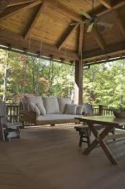 black porch swing with ver anda porch rustic and indoor ceiling fans