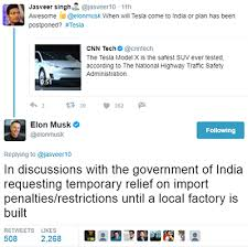 tesla tesla seeks import duty exemption from government for india