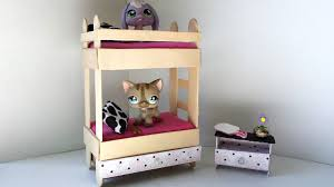 Diy Dollhouse Furniture How To Make A Tiny Bunk Bed With Drawer For Lps Littlest Pet Shop
