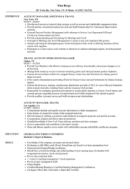 sle of resume account manager travel resume sles velvet