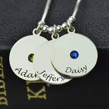 Birthstone Name Necklace Personalized Birthstone Name Necklace Mother U0027s Disc Necklace