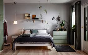 bedroom furniture ideas ikea a small bedroom furnished with a bed for two in white metal with square patterned metal