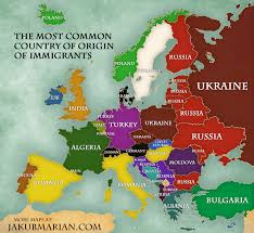 europe map by country the most common country of origin of immigrants in europe os