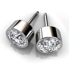 diamond stud earings 14kt white gold bezel set diamond stud earrings union diamond