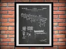 patent 1941 shuffleboard table patent art print poster print