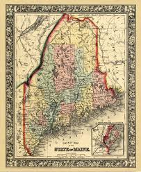 Maine County Map Mainely Maps Frames U0026 Gallery U2013 1000 U0027s Of Antique U0026 Historical Maps