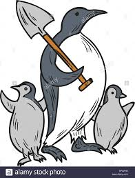 drawing sketch style illustration of a penguin holding shovel on