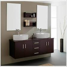 All Wood Bathroom Vanities by White Stained Wooden Bathroom Vanity Under Wall Mounted Mirror