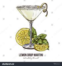 lemon drop martini mix lemon drop martini mint leaves vector stock vector 624207797