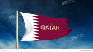 Flag Of Qatar Qatar Flag Slider Style With Title Waving In The Wind With Cloud