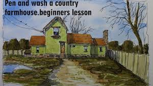 pen and wash a country farmhouse easy to follow and learn by nil