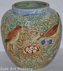 Weller Pottery Vase Patterns Weller Pottery Glendale Large Bulbous Vase Decorated With Birds