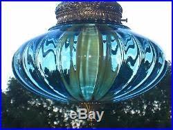 ufo space age modern blue optic art glass hanging swag lamp light