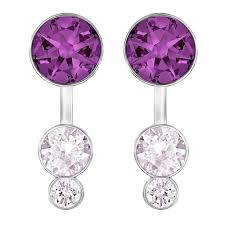 purple earrings swarovski slake dot purple dual earring jackets 5201100