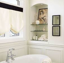 Glass Shelves Bathroom Bathroom Stand Alone Tub Frosted Brown Patterned Tile Floor Glass