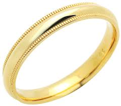 wedding band for accent 14k yellow gold 3mm comfort fit milgrain plain