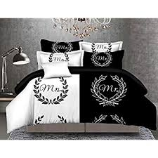 Couples Bed Set Bedding Sets Bed Black White Duvet Cover Pillowcase Set