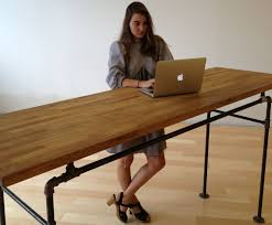 Office Desk Standing by Butcher Block And Steel Pipe Standing Desk