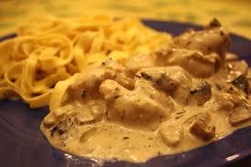 poulet à la crème et aux chignons ma cuisine bien aimée