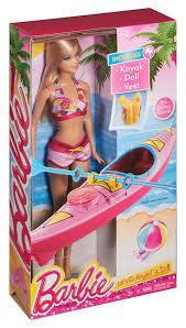 amazon com barbie on the go beach doll and kayak set toys u0026 games
