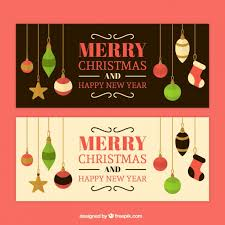 christmas ornaments banners in retro style vector free download
