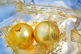 blue and gold ornaments still stock photo image