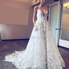 spaghetti wedding dress a line spaghetti straps sweep lace wedding dress with