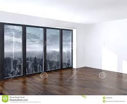 empty apartment living room with a view window stock illustration