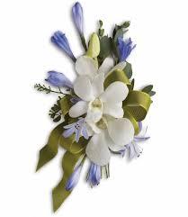 blue u0026 white elegance wrist corsage ray hunter florist u0026 garden
