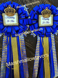 royal blue set little prince baby shower mommy to be pin and