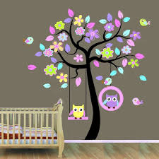 Nursery Tree Stickers For Walls Huge Removable Swing Owl Birds Colorful Scroll Tree Wall Art