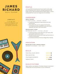 yellow with music instruments infographic resume templates by canva
