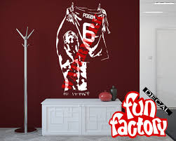 paul pogba wall decal sticker manchester united fc football soccer paul pogba wall decal sticker manchester united fc football soccer player france jersey 0064s by fundecalfactory