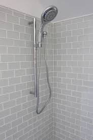 Gray Subway Tile Bathroom by Large White Subway Tile With Dark Gray Grout And Gray Fleur Accent