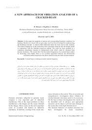 A New Approach For Vibration Analysis Of A Cracked Beam Pdf