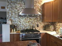 silver gold and taupe metallic glass tile kitchen backsplash