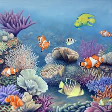 realistic paintings of coral reef coral reef painting surf art acrylic paintings