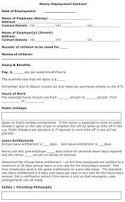 Agreement Templates Free Word S Nanny Contract Sample Sample Nanny Contract Page 2 Nanny