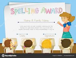 certificate template for spelling award stock vector certificate template for spelling award illustration vector interactimages