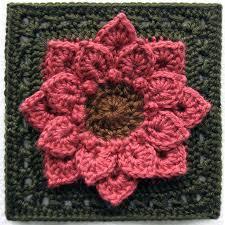 Free Pattern For Crochet Flower - free crochet pattern crocodile stitch afghan block dahlia