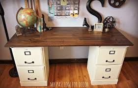 Computer Desk With File Cabinet Pottery Barn Inspired Desk Using Goodwill Filing Cabinets Hometalk