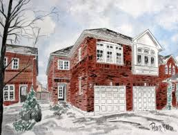 watercolor house paintings and drawings